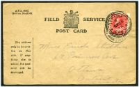 Lot 20114:1916 use of Field Service Card, cancelled with double-circle 'FIELD POST OFFICE/A/1SE/16/66' (Janis area, Greece), a 2c stamp has been placed over the FPO and cancelled at Ottawa. [Stamps were applied to free military mail when it arrived in Canada, this practice stopped in 1917.]
