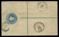 Lot 18132 [2 of 2]:1884 'PATENT Regd/ENVELOPE.' Imprint Under Flap HG #C2 4d blue on cream, size F with 2½mm between R and Office, addressed to Belgium, uprated with ½d (faults), 2d & 6d, stamps cancelled with '2' (B1), oval 'REGISTERED/MY 2 87/PORT ELIZABETH' (B1-) & oval 'R' both on face, red Registration Label 'Belgique' applied to face, 'BOITSFORT/25/MAI/9-M/1887' (B1) arrival on back.