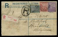 Lot 18132 [1 of 2]:1884 'PATENT Regd/ENVELOPE.' Imprint Under Flap HG #C2 4d blue on cream, size F with 2½mm between R and Office, addressed to Belgium, uprated with ½d (faults), 2d & 6d, stamps cancelled with '2' (B1), oval 'REGISTERED/MY 2 87/PORT ELIZABETH' (B1-) & oval 'R' both on face, red Registration Label 'Belgique' applied to face, 'BOITSFORT/25/MAI/9-M/1887' (B1) arrival on back.