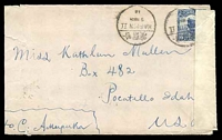 Lot 20153:1918 use of 10c blue junk, cancelled with bilingual '/HARBIN II/9MAR/18' (A1-) on plain cover to Pocatello, Idaho, sealed at right with 'OPENED BY/CENSOR/No.' tape bearing '1417' handstamp in black, slightly reduced at left with small closed tear. [Harbin was the entry point for US troops into Siberia.]