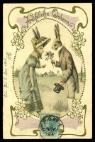 "Lot 21726:1904 use of ½d green, cancelled with 'F.P.O.NO4/4MA/04' (B2 - Tongku) on coloured German PPC of 2 rabbits in clothes headed 'Fröhliche Ostern' and endorsed ""Tsien"", addressed to Dole, Jura, France. [Rated 100 by Proud]"
