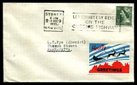 Lot 5:Australia - New South Wales: 1955 use of blue, black & red 'Hearty/GREETINGS' Xmas label on cover from Sydney to Parramatta.