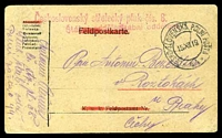 Lot 3659:1919 use of printed Feldpostkarte with Feldpost references deleted in red crayon, cancelled with double-circle 'CESKO-SLOVENSKA POLNI POSTA/15XII19/44' (C1), to Roztokaih, with straight-line 'Ceskoslovensky strelecky pluk cís. 8.' in red & straight-line 'Stabni oddeleni' x2 in red.