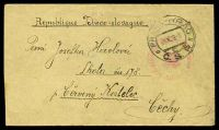 Lot 18145:1919(C.) use of plain envelope cancelled with light Czech Red Cross POW Dept handstamp & bearing Prague transit, to Cerveny Kostelec Bohemia, backstamped with 1st Attack Unit handstamp.