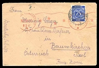Lot 22635 [1 of 2]:1947 use of 75pf blue Numeral, cancelled with 'U.S. CIVIL CENSORSHIP/MUNICH/8 3 47/*' (A1) machine in red, to Tirol, Austria (French Zone), backstamped with 'Hospital 2057/MID/censored' (A1), at Garmisch-Partenkirchen, in red.