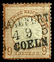 Lot 3601:1872 Large Shield Mi #27a 9kr reddish brown, Cat €320, 3 trimmed perfs at BLC.