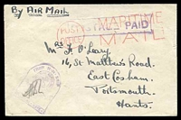 Lot 22005:1943 stampless envelope with boxed 'POSTAGE PAID' (A2) in purple, cancelled with 'POST/OFFICE - MARITIME/MAIL' (A1) in red, to Portsmouth, with tombstone 'FROM H·M· SHIPS/[seal]/PASSED BY CENSOR/SIGNATURE·
