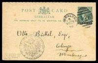 Lot 22001:1895 use of 5c on ½d green Postal Card with reply section unused & attached, H&G #12, cancelled with 'GI