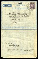 Lot 20911:1946 use of 3d, cancelled with 'FIELD POST OFFICE/20OC/46/316' (A1 - Syria - rated NS by Proud) on air letter (with AIR crossed out) to USA, from Arab Legion, MEF, written in Arabic.