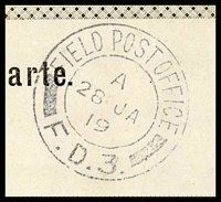 Lot 3585 [3 of 3]:1919 use of black and white PPC of 'Bahnhof Station Imst' (sic), cancelled with double-circle 'FIELD POST OFFICE/A/26JA/19/F.D.3.' (A1) of Italy (equal LRD with Proud), to East Dulwich, London, with shield '[crown]/PASSED BY CENSOR/430' (A1-), some discolouration around edges.