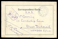 Lot 3585 [1 of 3]:1919 use of black and white PPC of 'Bahnhof Station Imst' (sic), cancelled with double-circle 'FIELD POST OFFICE/A/26JA/19/F.D.3.' (A1) of Italy (equal LRD with Proud), to East Dulwich, London, with shield '[crown]/PASSED BY CENSOR/430' (A1-), some discolouration around edges.