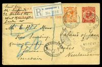 Lot 23345:1917 use of 1d red KGV ¾ face postcard, HG #40, uprated with 2d orange, cancelled with 'WEST KENSINGTON NORTH END RD 100 B.O.W./15FE/17' (B1), to Java, Neth. Indies, with 'W. KENSINGTON 1' reg label in grey & blue, also bearing oval 'REGISTERED/15FE17/WEST KENSINGTON. W' (A1-) & oval 'REGISTERED/15FE1