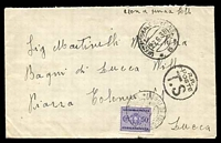 Lot 3732 [1 of 2]:1938 use of stampless envelope, cancelled with double-circle 'UFF: POSTALE SPECIALE/27.6.38/*5*' (A1-), to Lucca, bearing circled 'R.R./POSTE/T.S' (A1), with 50c purple due & double-circle 'BAGNI DI LUCCA VILLA/4.7.38/LUCCA' (A1- backstamp).