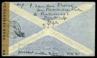 Lot 25326 [2 of 2]:1941 use of 1g purple, 42½c yellow & 2½c brown, cancelled with double-circle 'BANDOENG/13.1.41 9/+X+' (B1) on plain air cover to South Bend, Indiana, sealed at right with 'DOOR CENSUUR GEOPEND' tape in black on brown laid paper, also bearing double-circle 'CENSUUR/14.1.41 16/4' (A1) & circular 'DEV/1' (A1-) in red, small closed tear at top, some light creasing.