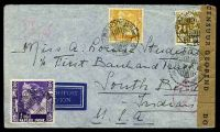Lot 26100 [1 of 2]:1941 use of 1g purple, 42½c yellow & 2½c brown, cancelled with double-circle 'BANDOENG/13.1.41 9/+X+' (B1) on plain air cover to South Bend, Indiana, sealed at right with 'DOOR CENSUUR GEOPEND' tape in black on brown laid paper, also bearing double-circle 'CENSUUR/14.1.41 16/4' (A1) & circular 'DEV/1' (A1-) in red, small closed tear at top, some light creasing.