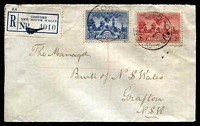 Lot 6486 [1 of 2]:Gosford: - 'GOSFORD/31OC36/N.S.W.' on 2d & 3d SA Centenary on cover with blue registration label.  Renamed from Brisbane Water PO 1/9/1841.