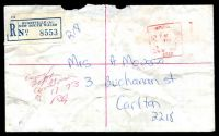 Lot 1034 [1 of 2]:Hurstville (2): unusual hand-applied red square datehead 'HURSTVILLE/PAID//7NO73/?/PAID/NSW AUST/2220', on stampless cover with blue registration label. [Most unusual and clearly an emergency use due to the absence of the regular paid cds.]  Renamed from Hurstville Railway Station PO 1/12/1889; renamed Hurstville Business Centre BC 31/8/1992.