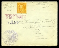 "Lot 4765 [1 of 2]:1918 use of 10c yellow-orange on plain cover endorsed ""Officers Mail/OAS"" with double-circle 'A.E.F. PASSED AS CENSORED/[eagle]/1596' (A1) & straight-line 'REGISTERED' (B1), backstamped with 'U.S. MILITARY POSTAL EXPRESS SERVICE/No 739/27OCT1918/REGISTERED' (B1)."