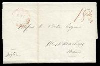 "Lot 29265:1820 entire rated ""18¾"" in red cancelled with light framed red 'NEWBURYPORT/NOV/22/[M?]"