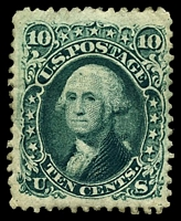 Lot 22441:1861-62 Amended Design Perf 12 10c blue-green, Sc #68a, Cat $800, couple of minor gum creases.