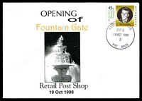 Lot 13181:Fountain Gate: 'FOUNTAIN GATE/RPS/19OCT1998/2/VIC.3805' on 45c on Alexander opening of Retail Post Shop cover.  PO 8/7/1985; LPO 1/10/1993; PO 19/10/1998.