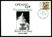 Lot 14704:Fountain Gate: - WWW #56 'FOUNTAIN GATE/RPS/19OCT1998/4/VIC. 3805' on 45c on Alexander opening of Retail Post Shop cover.  PO 8/7/1985; LPO 1/10/1993; PO 19/10/1998.