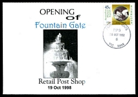 Lot 14705:Fountain Gate: - WWW #76 'FOUNTAIN GATE/RPS/19OCT1998/6/VIC.3805' on 45c on Alexander opening of Retail Post Shop cover.  PO 8/7/1985; LPO 1/10/1993; PO 19/10/1998.
