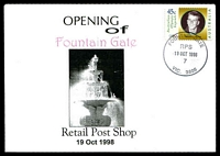 Lot 14706:Fountain Gate: - WWW #86 'FOUNTAIN GATE/RPS/19OCT1998/7/VIC.3805' on 45c on Alexander opening of Retail Post Shop cover.  PO 8/7/1985; LPO 1/10/1993; PO 19/10/1998.
