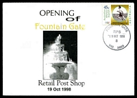 Lot 14707:Fountain Gate: - WWW #96 'FOUNTAIN GATE/RPS/19OCT1998/8/VIC. 3805' on 45c on Alexander opening of Retail Post Shop cover.  PO 8/7/1985; LPO 1/10/1993; PO 19/10/1998.