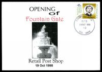Lot 2431:Fountain Gate: WWW #116 'FOUNTAIN GATE/RPS/19OCT1998/10/VIC.3805' on 45c on Alexander opening of Retail Post Shop cover.  PO 8/7/1985; LPO 1/10/1993; PO 19/10/1998.