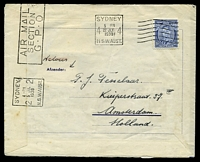 Lot 4406 [2 of 2]:1938 Holland - Australia - Holland AAMC #815a on Royal Packet Navigation Co 1st flight Amsterdam - Sydney printed envelope, with 'AMSTERDAM - BATAVIA - SYDNEY/[lion, sword & kangaroo]/NEDERLANDSCHE LUCHTDIENST/OPENING 28JUNI1938' (A1) cachet, Cat $125, franked with 30c green air, 5c Rembrandt & 3c Heldring, cancelled with double-circle Amsterdam Central Station of 24.VI 1938, reverse addressed to Holland, franked with 3d blue KGVI & cancelled with Sydney machine of 22JLY1938, light vertical crease & some toning, primarily around Dutch stamps.