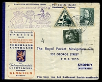 Lot 4406 [1 of 2]:1938 Holland - Australia - Holland AAMC #815a on Royal Packet Navigation Co 1st flight Amsterdam - Sydney printed envelope, with 'AMSTERDAM - BATAVIA - SYDNEY/[lion, sword & kangaroo]/NEDERLANDSCHE LUCHTDIENST/OPENING 28JUNI1938' (A1) cachet, Cat $125, franked with 30c green air, 5c Rembrandt & 3c Heldring, cancelled with double-circle Amsterdam Central Station of 24.VI 1938, reverse addressed to Holland, franked with 3d blue KGVI & cancelled with Sydney machine of 22JLY1938, light vertical crease & some toning, primarily around Dutch stamps.