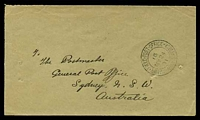 Lot 5490:1901: use of stampless envelope, cancelled with light double-circle 'FIELD POST OFFICE/16/MY24/01/BRITISH ARMY S.AFRICA' (A1-) of Klerksdorp, to New South Wales, backstamped with 'SYDNEY/JY2/7-A-M/01/2' (A1), couple of short closed tears & 2 pinholes.