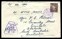 Lot 5295:1942(C.) use of 3d brown KGVI, cancelled with violet 'R.A.F.BASE P.O./CEYLON' (A1) on air cover to South Aust, violet 'R.A.F./CENSOR/W 10' (A1) on face.