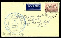 Lot 864:1942 use of 1/6d Hermes, cancelled with 'AIR MAIL SECTI