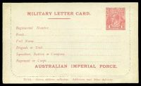Lot 4216:1916 Australian Imperial Force BW #LCM1 KGV Sideface 1d red Die I letter card, with 'AUSTRALIAN IMPERIAL FORCE', Cat $500, unused but sealed.