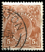 Lot 559:5d Orange-Brown Die II - BW #127(3)f Flawed Maltese cross in crown [3L7], Cat $20.