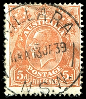 Lot 2832:5d Orange-Brown Die II - [3L12] Left end of 22nd shading line, counting up, missing by left frame
