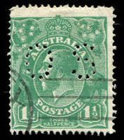 Lot 293:1½d Green Die I BW #88ba perf 'OS', Cat $15.