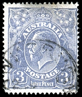 Lot 694:3d Blue Die Ia - [3,4L58] type B White dot near top ball of right 3 etc, very small tear near TRC.