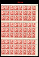 Lot 3247:1951 3d Scarlet KGVI BW #251c complete left booklet pane of 288, Cat $240+, weak entry at [C/2/15], not apparent. Columns 3 & 14 are creased parallel to the perfs from poor folding.