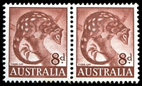 Lot 2924:1959-66 Native Fauna BW #358(I)ja 8d Tiger Cat on ordinary paper pair, both with Recut base frame & shading below AUSTRALIA - Type I [ShB R1/1-2], Cat $40+.