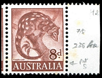 Lot 759 [2 of 2]:1960-66 8d Tiger Cat Helecon Paper BW #359ra marginal pair, right unit with Bar of colour through S of AUSTRALIA retouched [ShC R7/8], Cat $60+, tonespots.