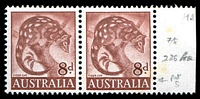 Lot 759 [1 of 2]:1960-66 8d Tiger Cat Helecon Paper BW #359ra marginal pair, right unit with Bar of colour through S of AUSTRALIA retouched [ShC R7/8], Cat $60+, tonespots.