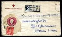 Lot 19389:1951 use of American Red Cross envelopes, GB 6½d Registration Envelope flap and 2d stuck to face, cancelled with double-circle 'FIELD POST OFFICE/21JY/51/748' FPO '748' registration label also on face, untidy but scarce & commercial.
