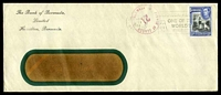 Lot 3761:1944 use of 3d black & blue KGVI Pictorial cancelled with Hamilton machine cancel on long window Bank of Bermuda envelope bearing 'PASSED BY CENSOR/21/*BERMUDA*' handstamp in claret.