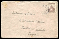 Lot 3612:1941 use of 1.20k lilac-brown Brünn, Mi #41, on cover to Bavaria, couple of minor faults.