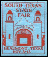 Lot 4782:Texas: red on blue 'SOUTH TEXAS/STATE/FAIR/BEAUMONT/TEXAS/...', part 1932 cancel at top.