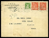 Lot 21471:1924 use of 50h green & 100h red x2 cancelled by partial Prague machine cancel on YMCA Russian Department printed envelope with vertical fold and closed tear at top to France.