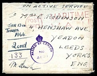 Lot 19436:1943 use of stampless OAS cover to England, cancelled with red 'POST/OFFICE - MARITIME/MAIL' (A1) on arrival, violet 'PASSED BY CENSOR/No/4428' (A1) on face. Part of the Robinson correspondence, letter is included.